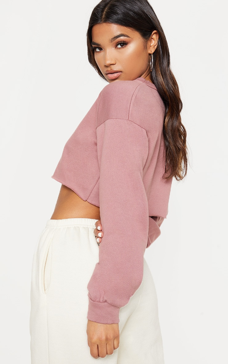 Mauve Cut Off Crop Longsleeve Sweater  2
