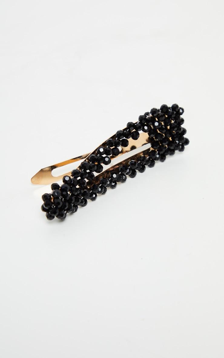 Black Crystal Bead Hair Clip 3