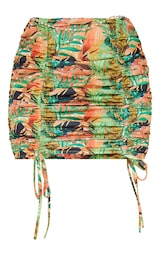 Multi Tropical Crepe Double Ruched Front Tie Detail Mini Skirt 6
