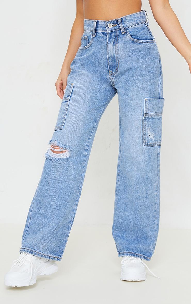 Petite Light Blue Wide Leg Distressed Cargo Jeans 2