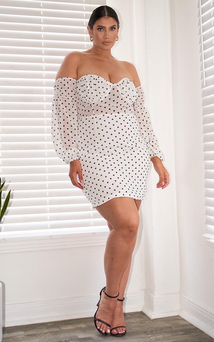 Plus White Polka Dot Mesh Inserted Bodycon Dress 1