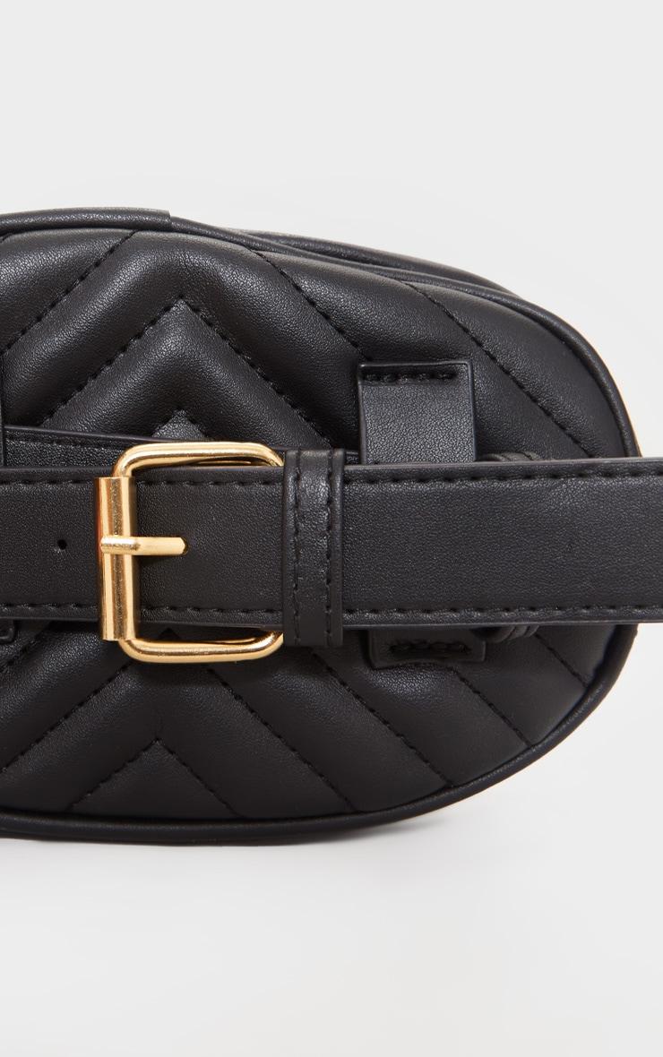 Black Chevron Quilted Bum Bag 3
