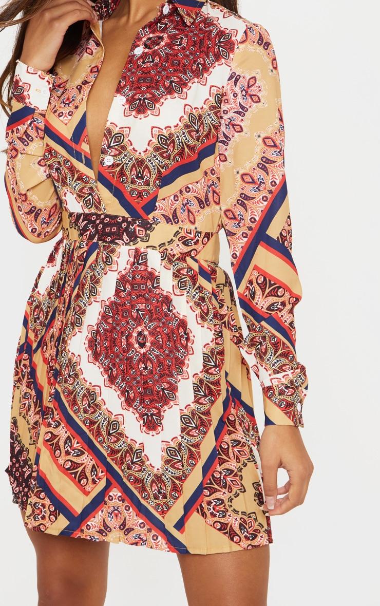 Multi Paisley Print Pleated Shirt Dress 5