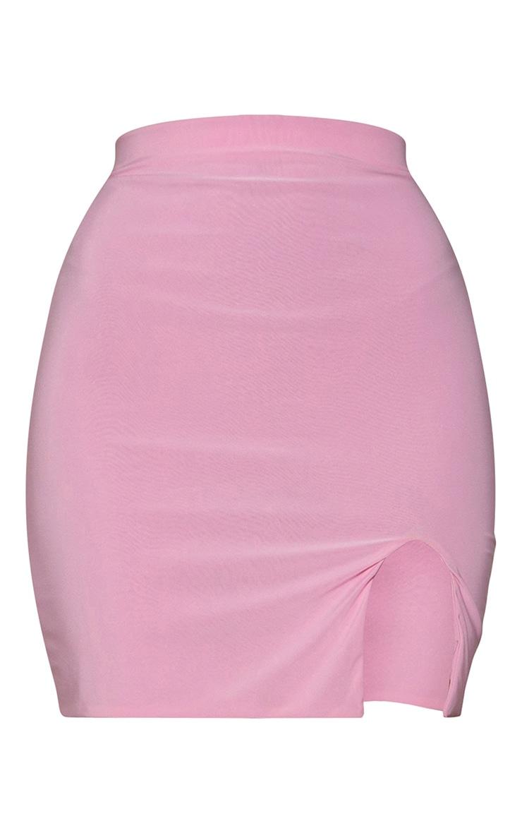 Pink Slinky Slit Hem Mini Skirt 6