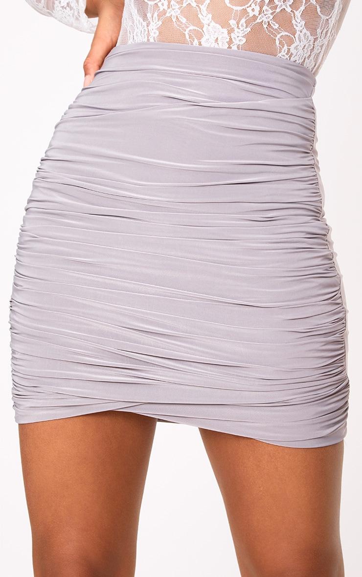 Grey Ruched Layered Mini Skirt 6