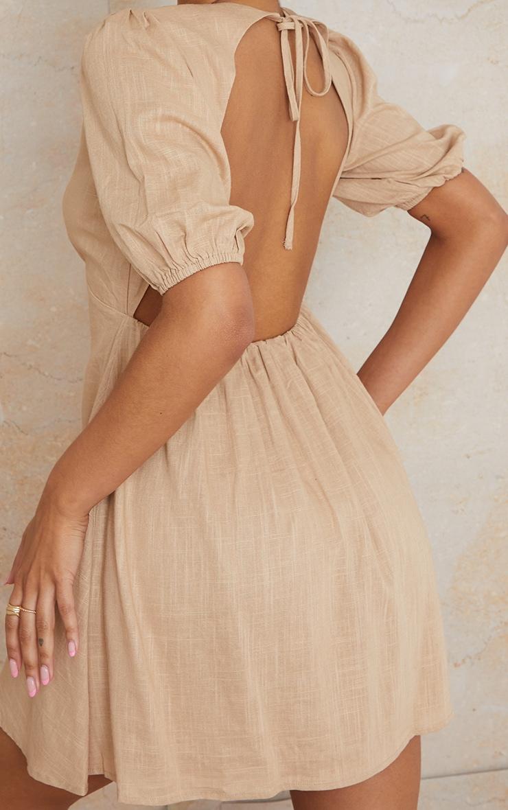 Stone Linen Look Tie Backless Detail Puff Sleeve Shift Dress 4