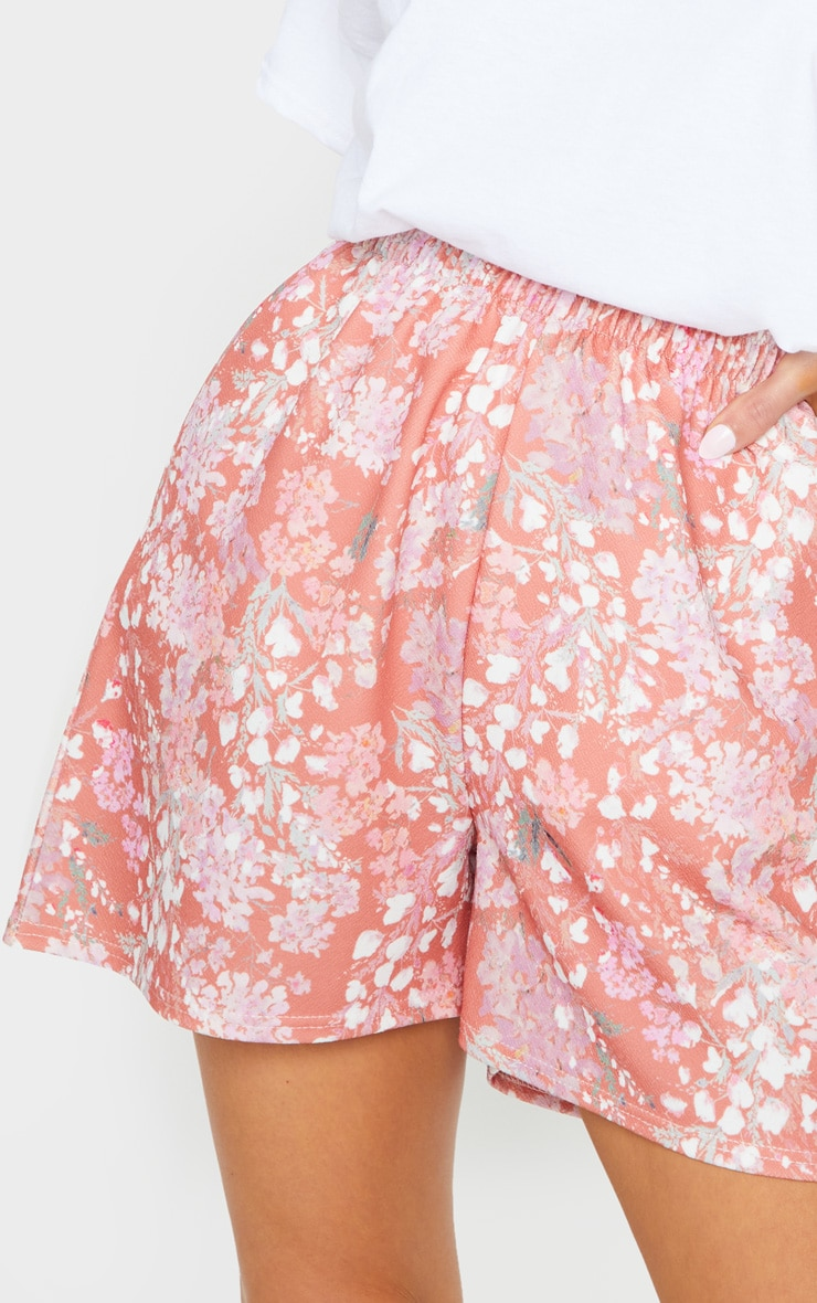 Pink Ditsy Floral Print Oversized Floaty Shorts 5