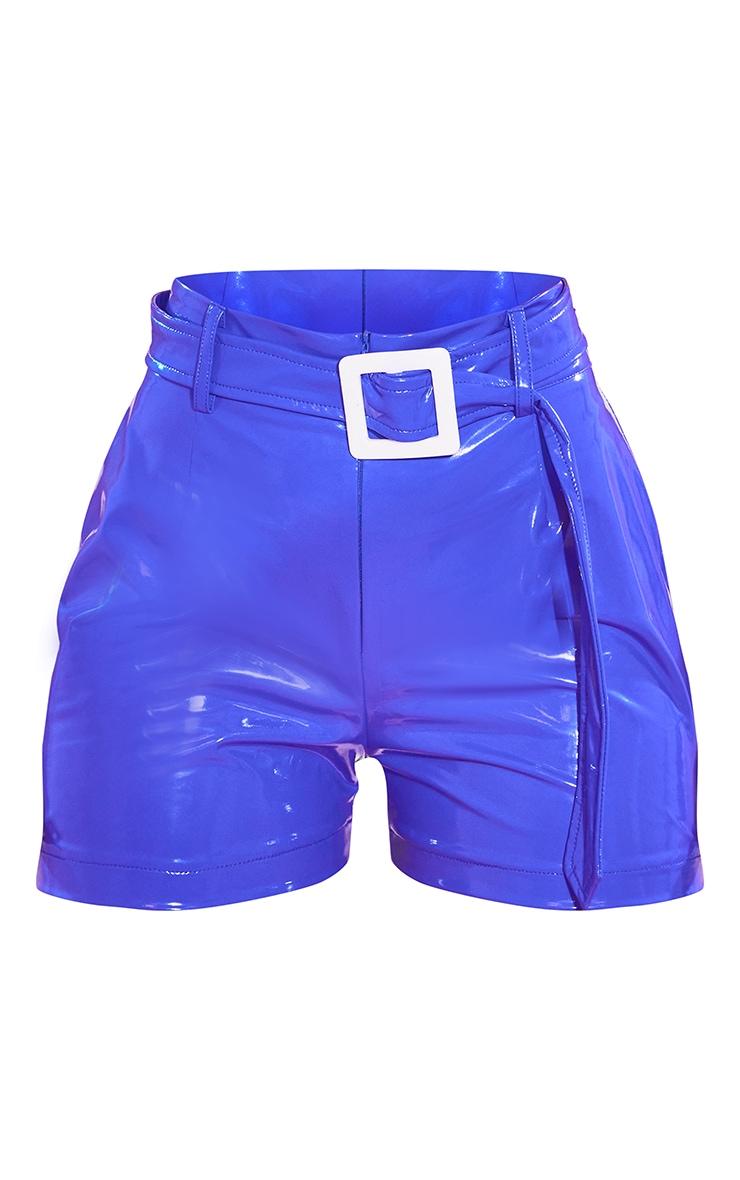 Blue Vinyl Belted Waist Shorts 6