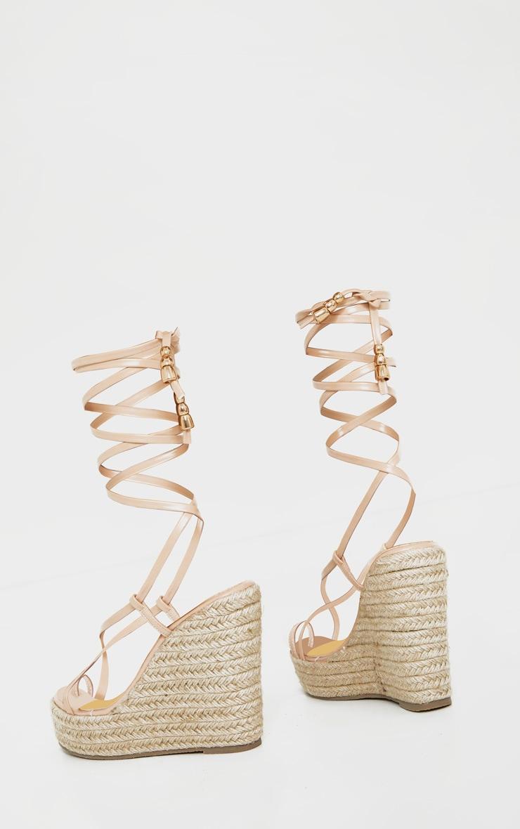 Nude Toe Loop Ankle Tie Espadrille Wedges 3