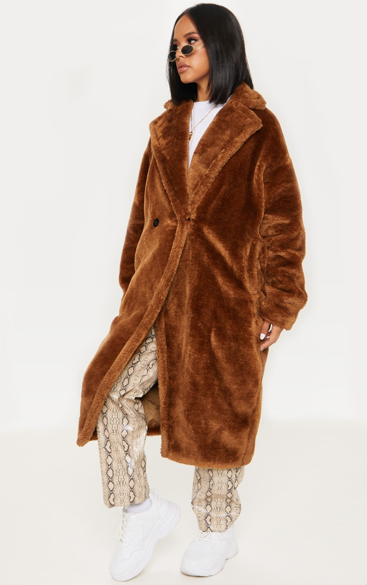 Brown Faux Fur Coat  3