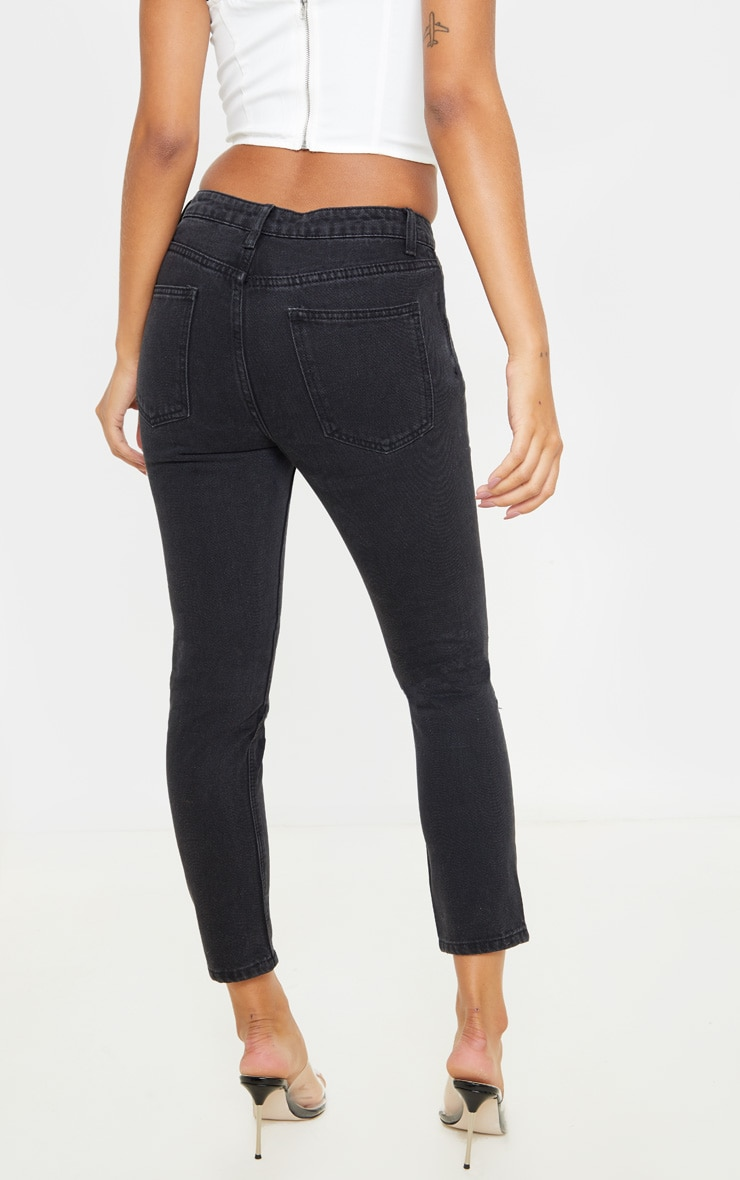 Washed Black Cut Out Waist Straight Leg Jeans 4