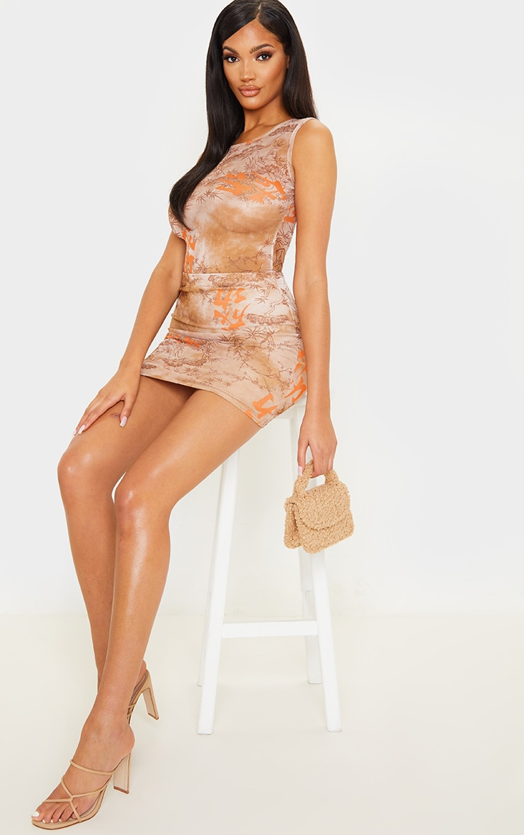 Nude Oriental Mesh Printed Mini Skirt 5