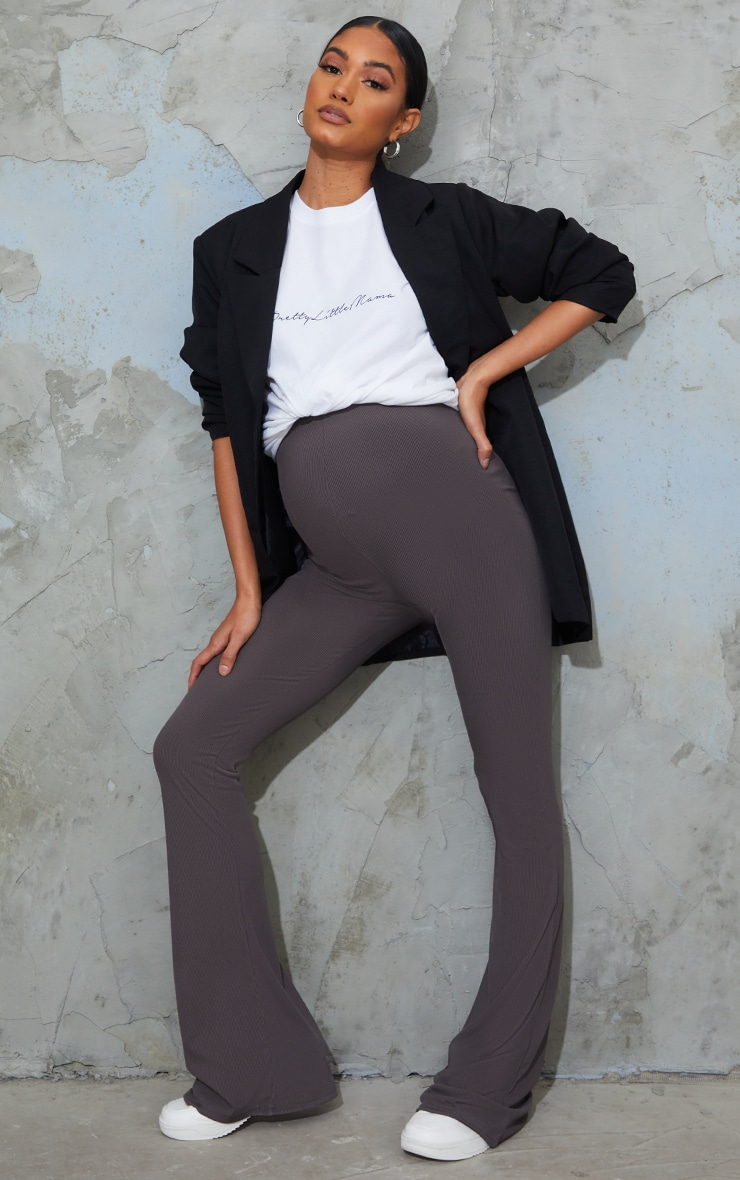 Maternity Slate Ribbed Flared Leggings 1