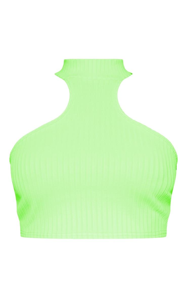 Light Lime Neon Rib High Neck Sleeveless Crop Top 3
