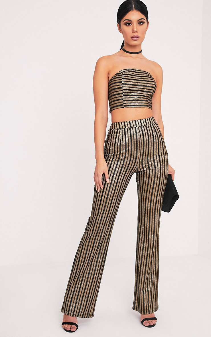 Lashelle Black Sparkle Stripe Trousers 1