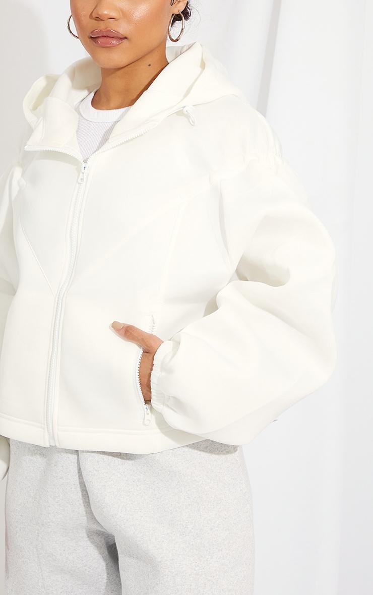 White Scuba Panel Hooded Toggle Hem Jacket 4