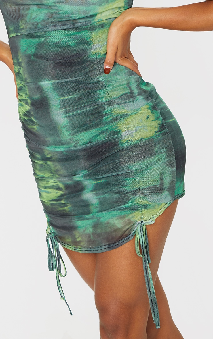 Green Tie Dye Print Strappy Ruched Tie Hem Bodycon Dress 4