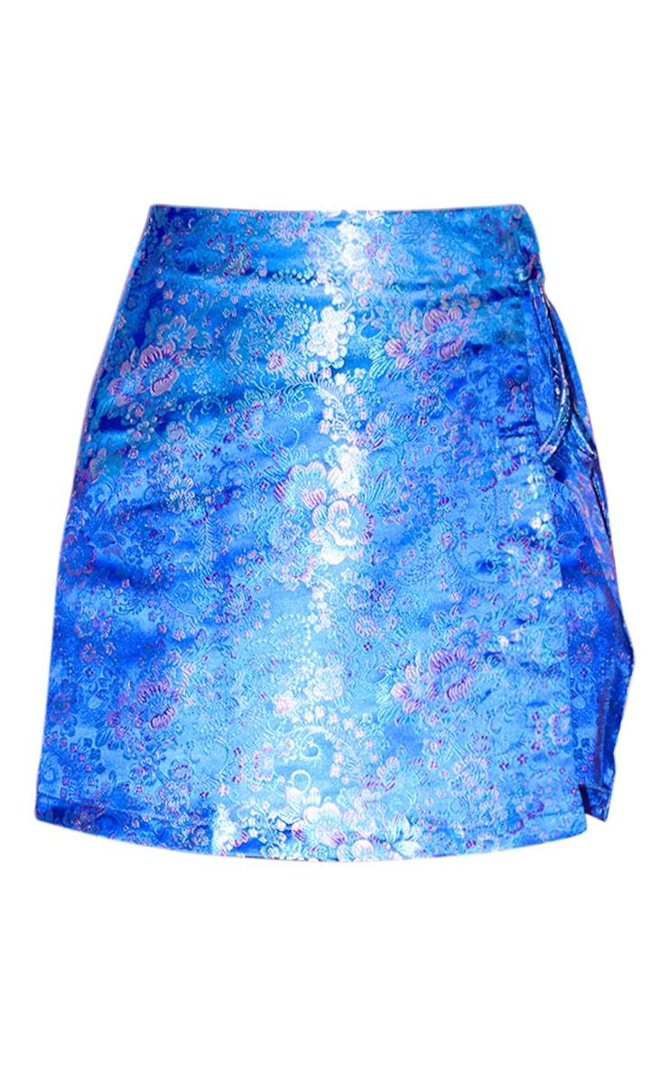 Blue Oriental Wrap Mini Skirt 3