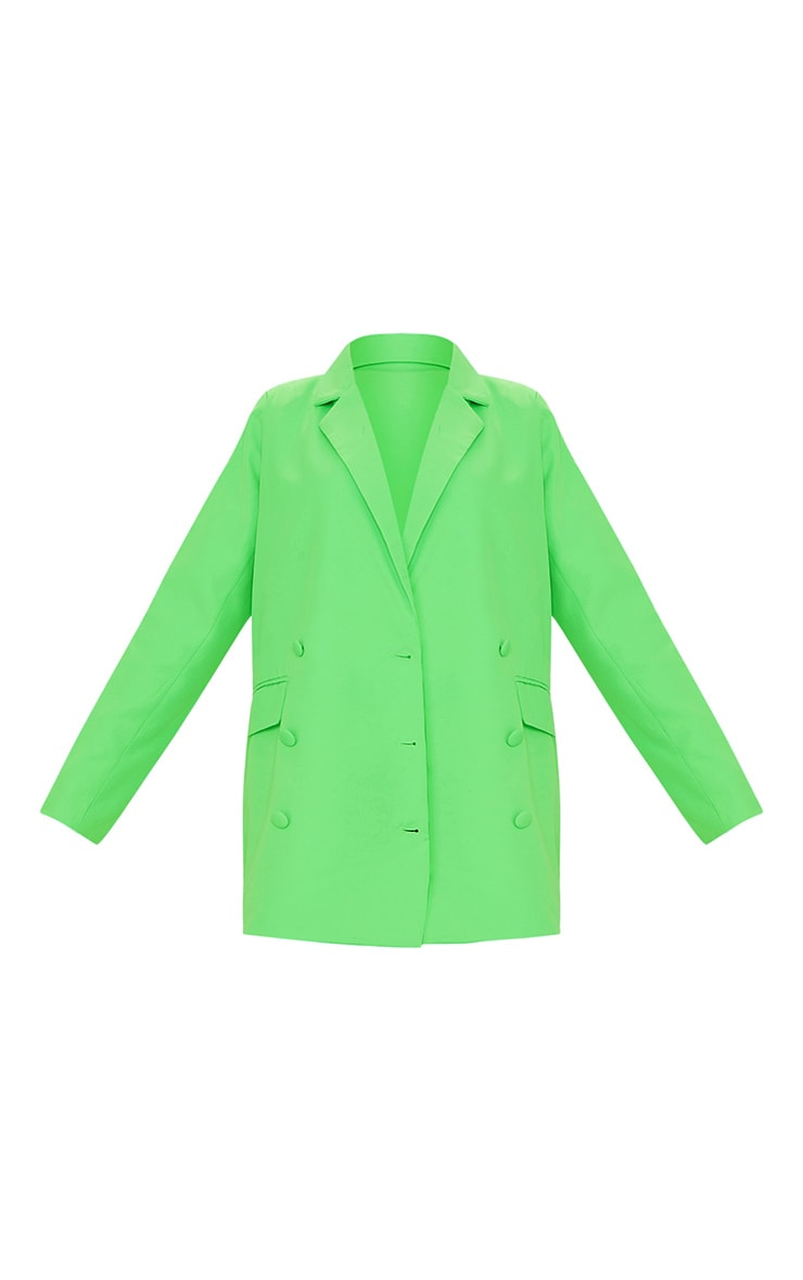Bright Green Oversized Double Breasted Covered Button Blazer 5