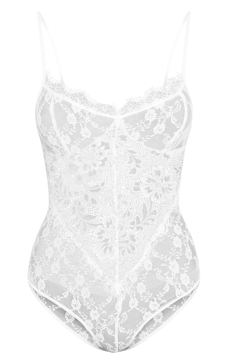 Rania White Sheer Lace Thong Bodysuit 3