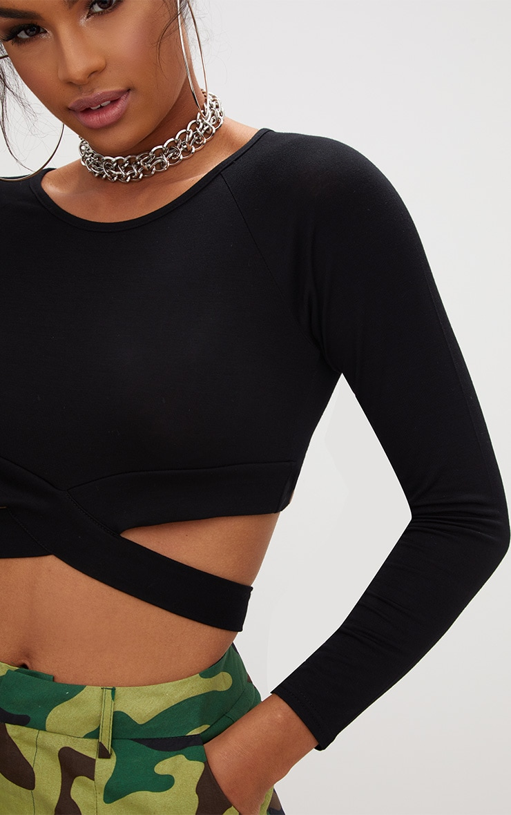 Black Cross Front Longsleeve Crop Top  5