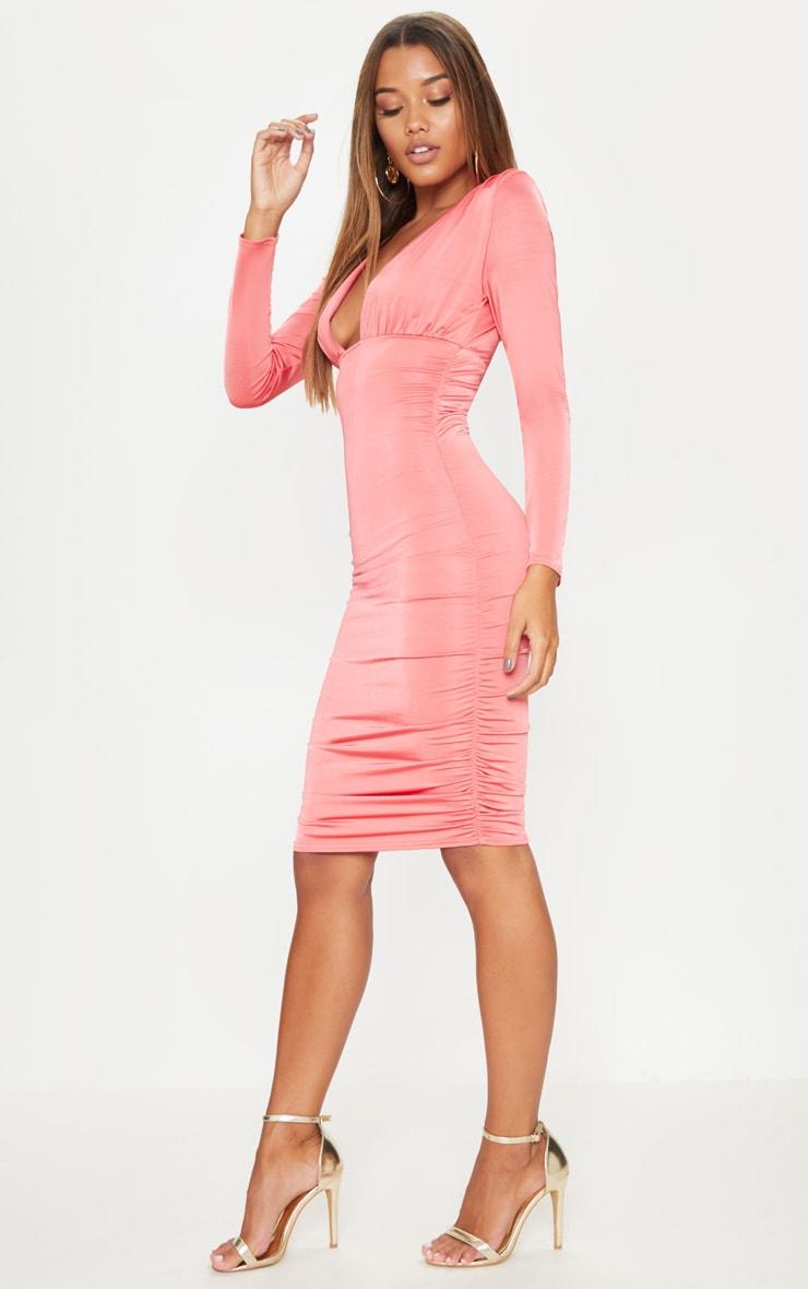Coral Shoulder Pad Ruched Midi Dress 4
