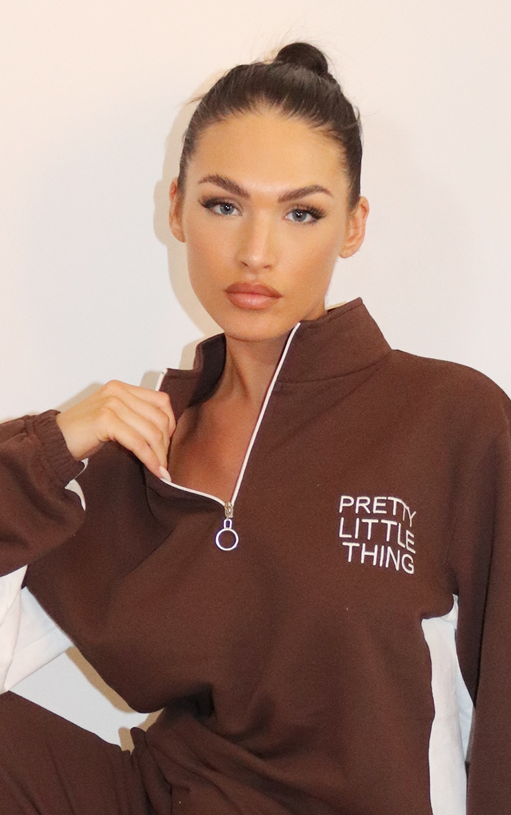 PRETTYLITTLETHING Chocolate Brown Contrast Stripe Funnel Neck Zip Up Sweater 4