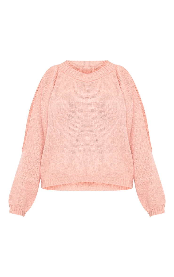 Aingeal Blush Cropped Cold Shoulder Knitted Jumper 3
