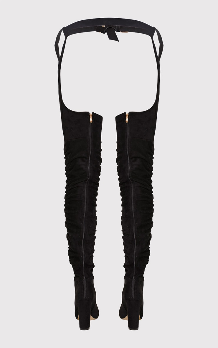 Beksie Black Belted Thigh High Boots 5