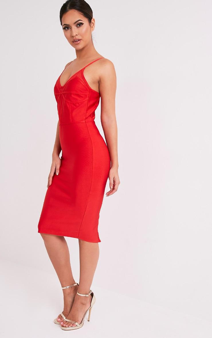 Bethan Red Bandage Mesh Insert Midi Dress 5