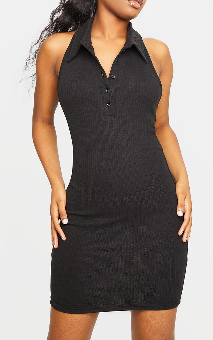 Black Rib Open Back Detail Bodycon Dress 4