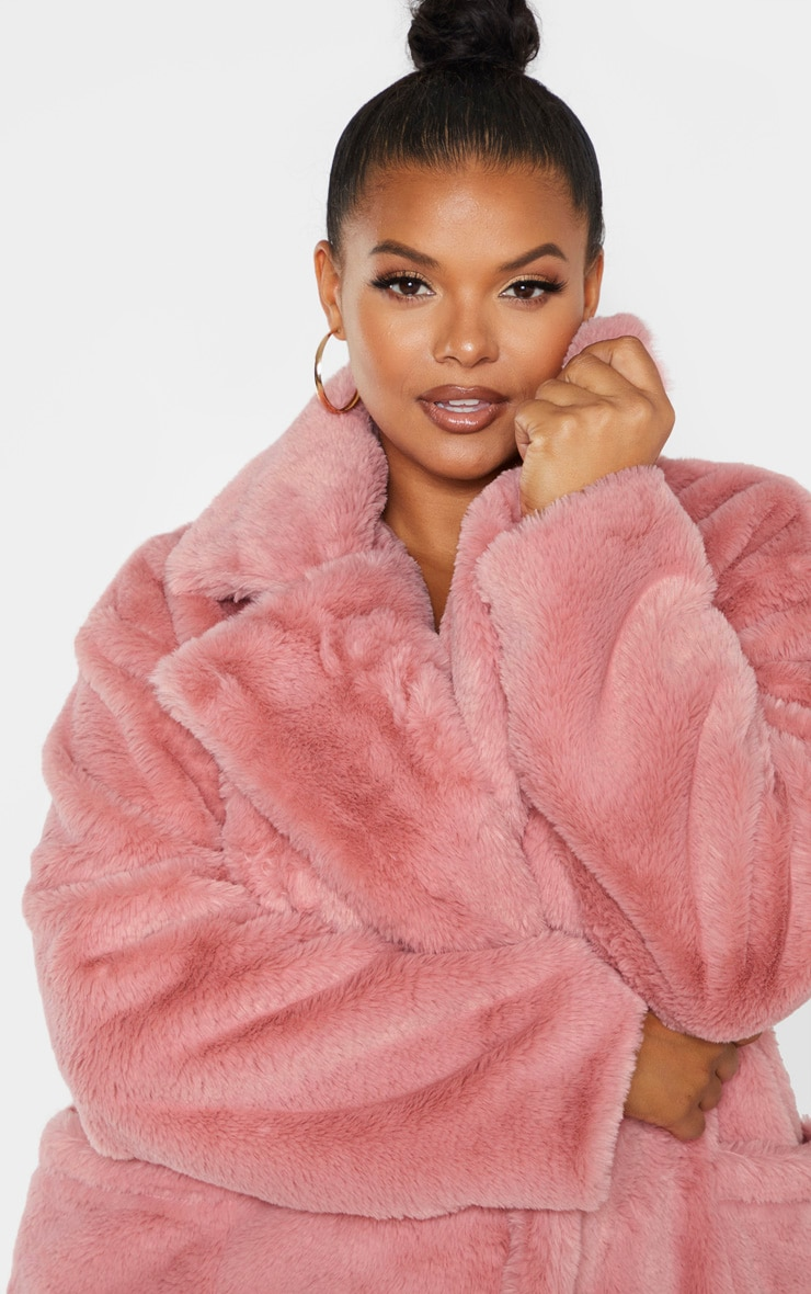 Plus Rose Faux Fur Double Breasted Coat 5