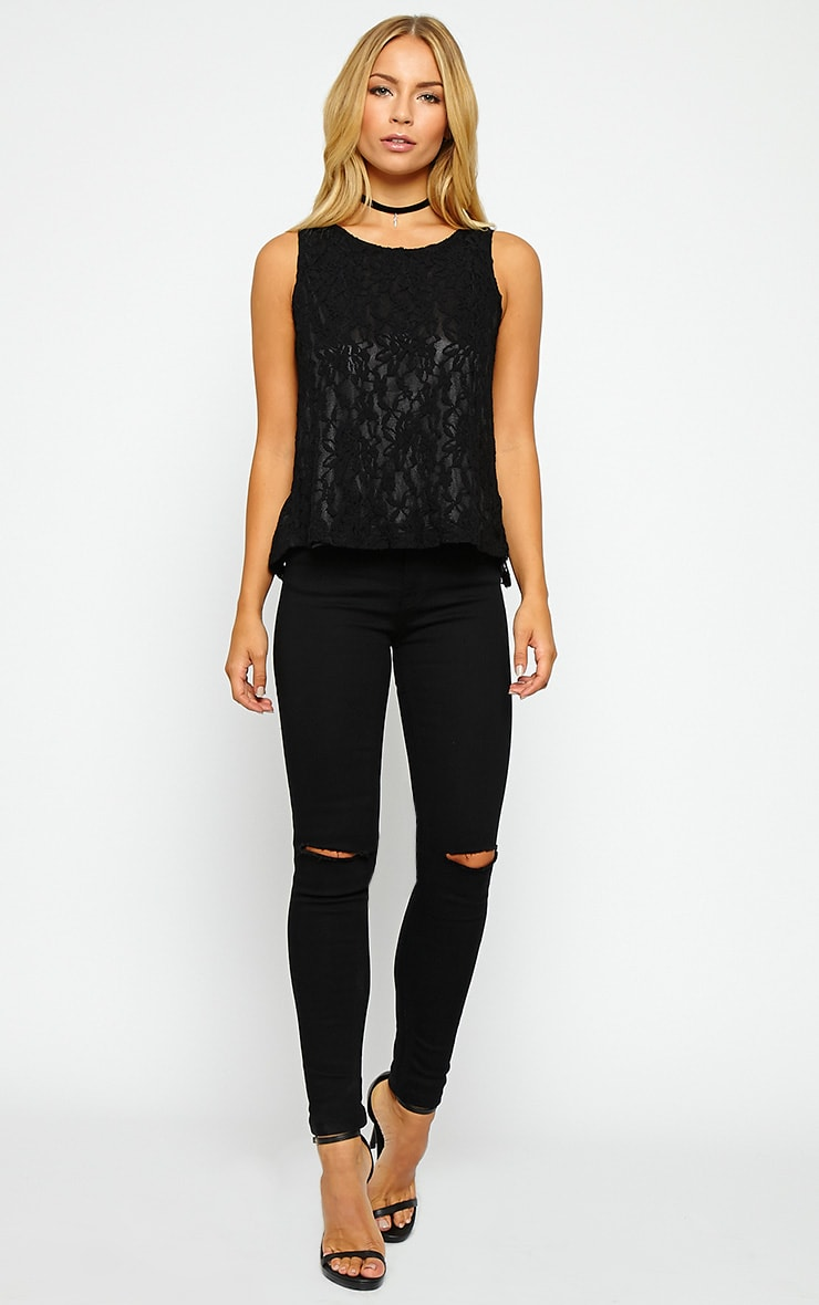 Leilani Black Open Back Lace Top 3