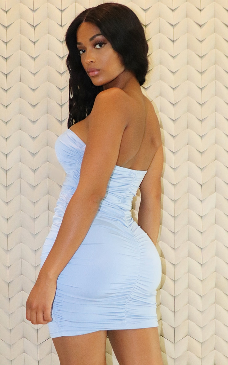 Shape Dusty Blue Slinky Ring Detail Ruched Bodycon Dress 2