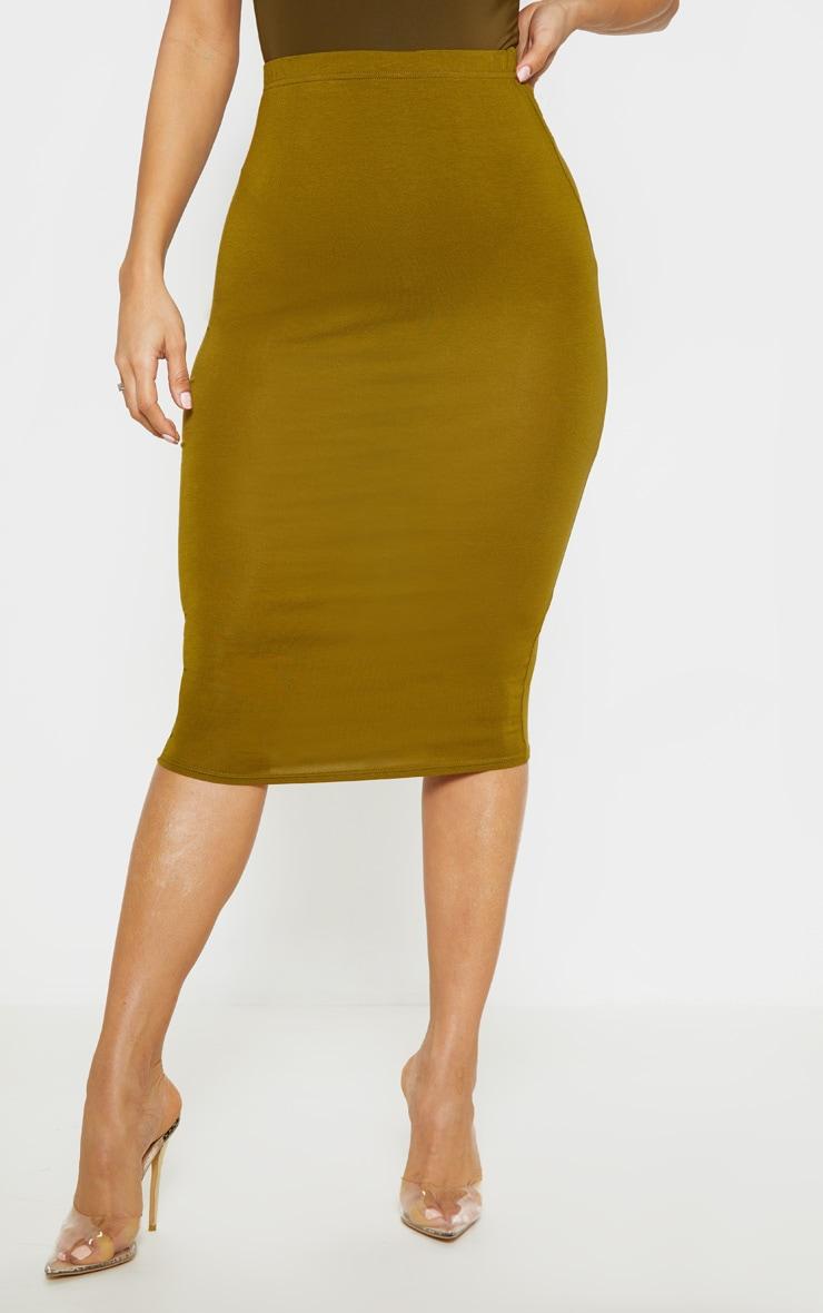 Basic Pale Olive Midi Skirt 2