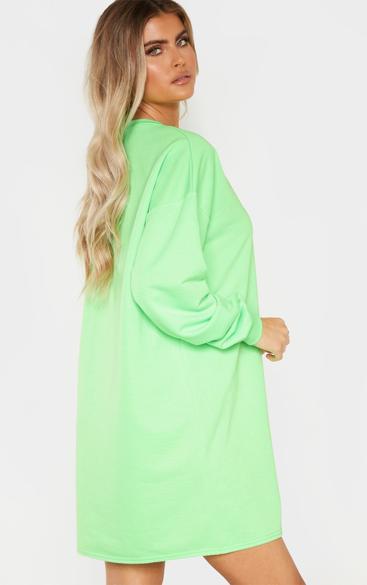 PRETTYLITTLETHING Tall Neon Lime Embroidered Jumper Dress 2