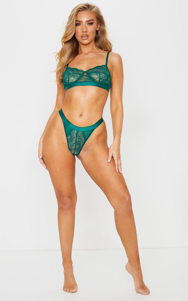 Emerald Green Delicate Lace Underwired Bra And Knicker Set 4