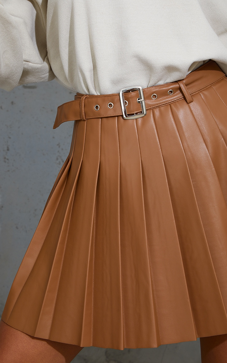 Tan Faux Leather Belted Skater Skirt 5