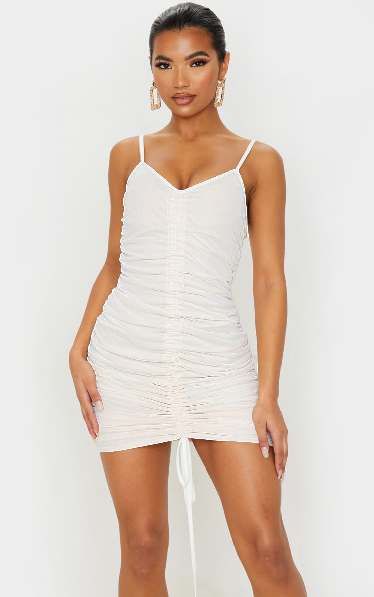 White Mesh Ruched Bodycon Dress 1