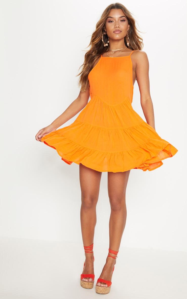 Bright Orange Cheesecloth Strappy Tiered Cami Dress 4