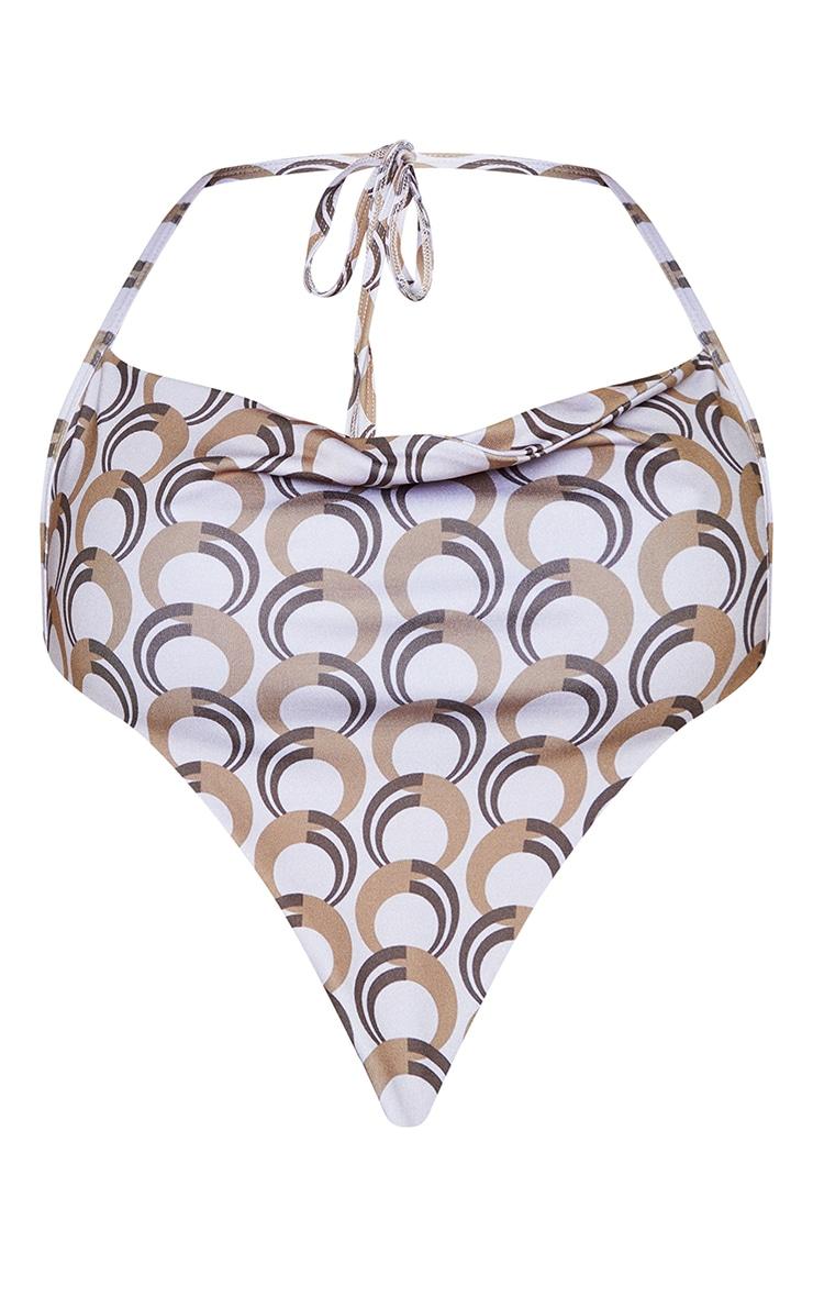 Haut de maillot de bain style bandana dos nu col bénitier marron imprimé géométrique à lanières 5