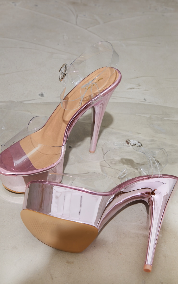 Pink Metallic Extreme Clear Platform Sandals 4