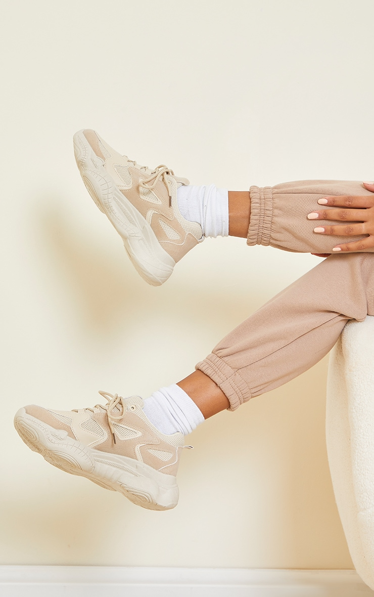 Sand Wide Fit Chunky Bubble Sole Panelled Up Trainers image 1