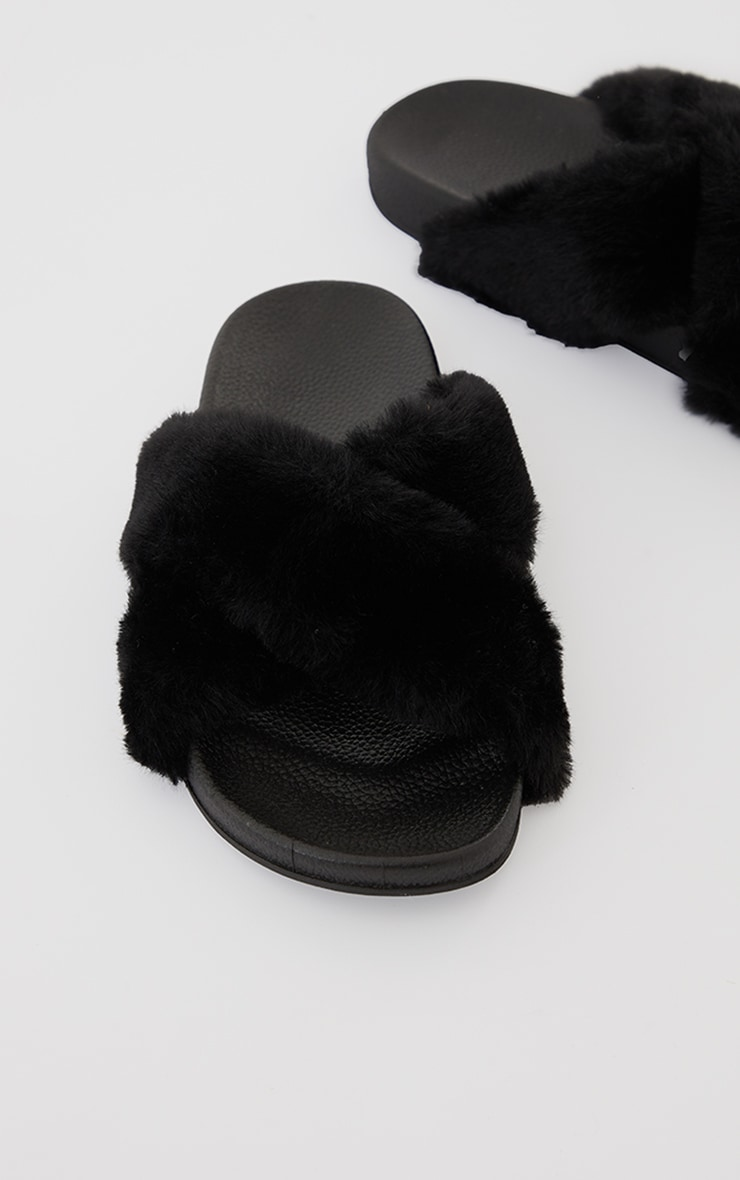 Black Cross Strap Faux Fur Sliders 4