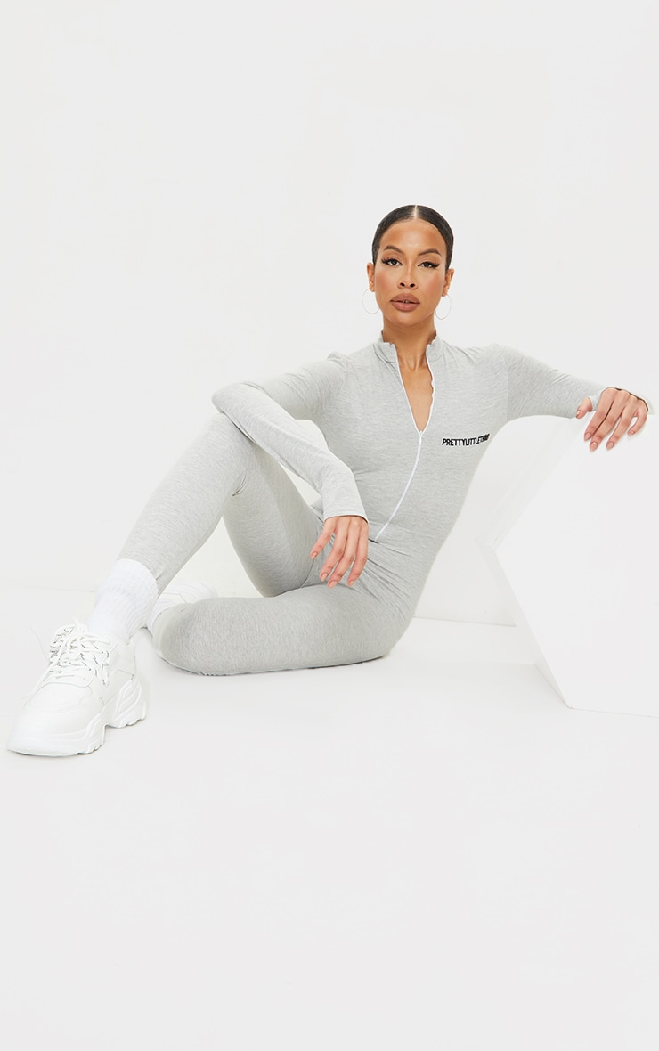 PRETTYLITTETHING Tall Grey Embroidered Zip Front Jumpsuit 3