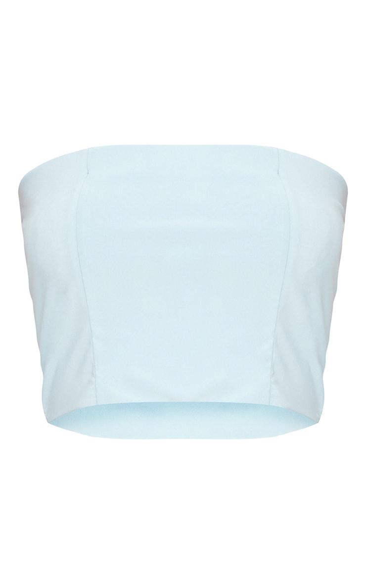 Helsa Pastel Blue Slinky Bandeau Crop Top 1