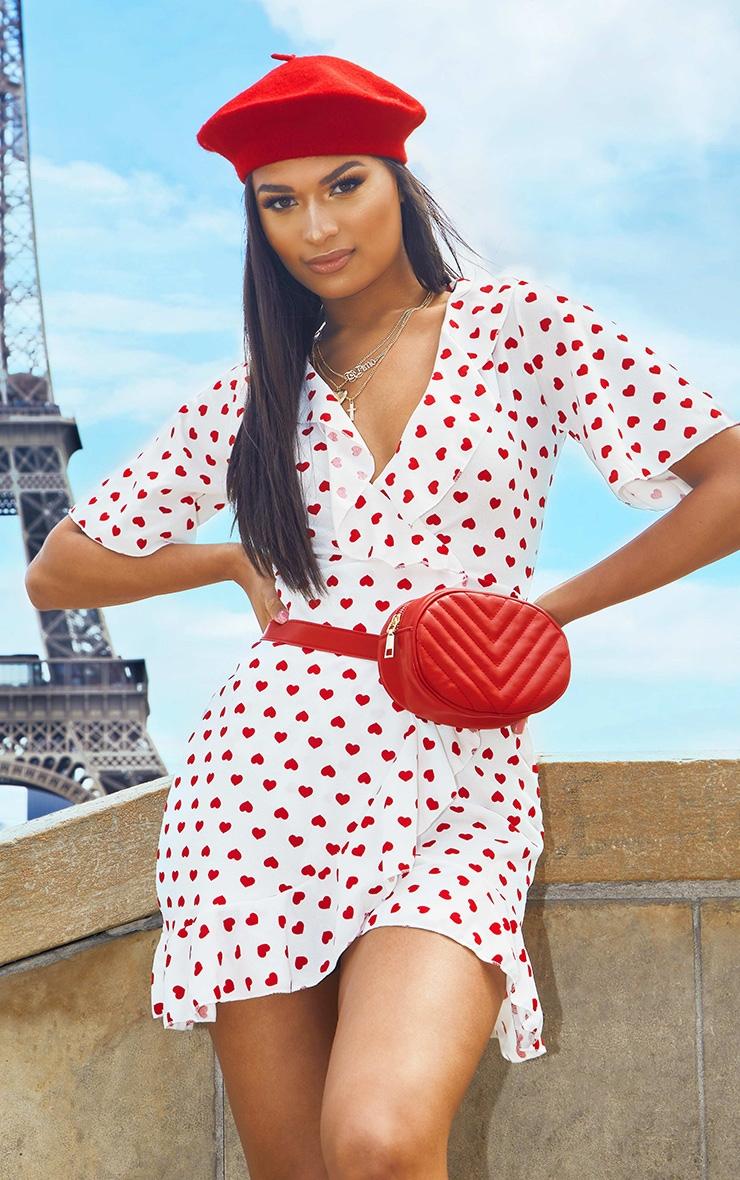 White Heart Print Frill Detail Tea Dress  2