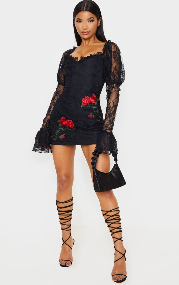 Black Lace Rose Embroidered Long Sleeve Bodycon Dress 5