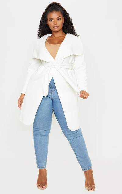 Plus Cream Waterfall Detail Coat