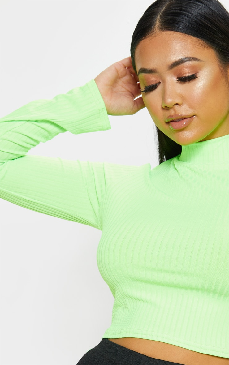 Petite Neon Lime High Neck Ribbed Long Sleeve Crop Top 5